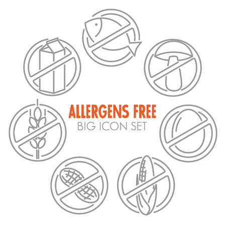 allergens: Vector icons set for allergens free products (milk, fish, egg, gluten, wheat, nut, lactose, corn, mushroom)
