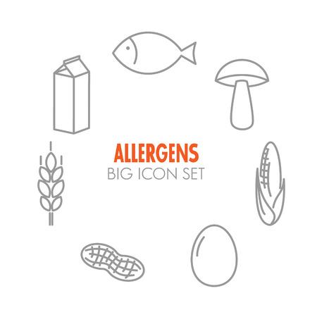 牛乳、魚、卵、グルテン、小麦、ナット、乳糖、トウモロコシ、キノコ) のアレルゲンのためベクトル アイコンを設定します。