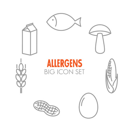 food allergy: Vector icons set for allergens (milk, fish, egg, gluten, wheat, nut, lactose, corn, mushroom) Illustration