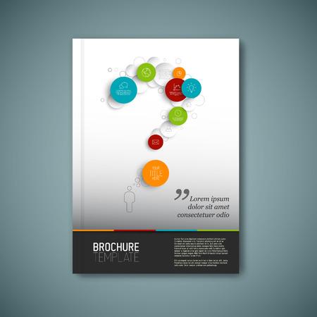 現代ベクトル抽象的なパンフレット、レポートまたはチラシ デザイン テンプレートを疑問符