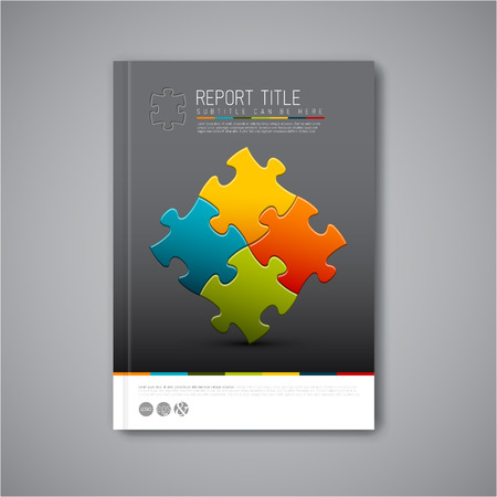 business puzzle: Modern Vector abstract brochure, report or flyer design template with puzzle pieces Illustration