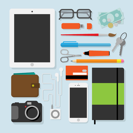 pocket book: Flat design style modern vector illustration of every day  accessories, things, tools, devices