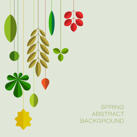 Spring abstract floral background made from minimalist leafs with place for your text Illustration