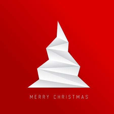 Simple vector christmas tree made from folded paper - original new year card Ilustrace