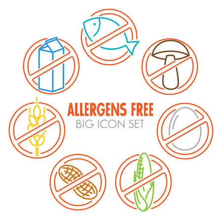 food allergy: Vector icons set for allergens free products (milk, fish, egg, gluten, wheat, nut, lactose, corn, mushroom) - color version