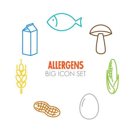 food allergy: Vector icons set for allergens (milk, fish, egg, gluten, wheat, nut, lactose, corn, mushroom) - color version