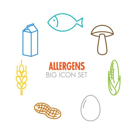 Vector pictogrammen die voor allergenen (melk, vis, ei, gluten, tarwe, noten, lactose, maïs, champignons) - kleurenversie Stockfoto - 34605762