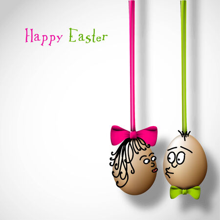 funny easter: Funny easter eggs with a bow - Happy Easter Card Illustration