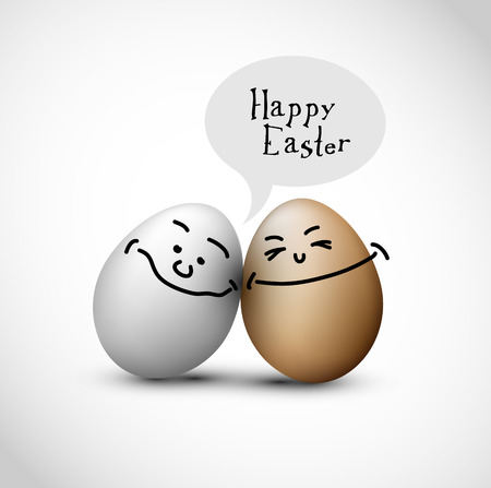 Funny easter eggs with a speech bubble Illustration