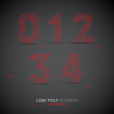 web 2 0: Blue Vector low poly (wired) numbers font with shadow (red on dark background)