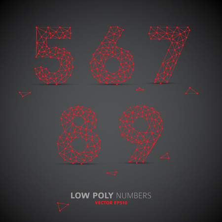 Blue Vector low poly (wired) numbers font with shadow (red on dark background)