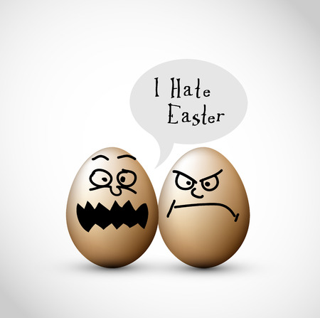 two child: Funny easter eggs with a speech bubble Illustration