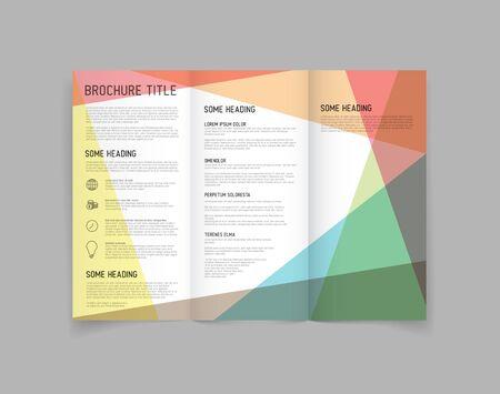Modern Vector three fold brochure  leaflet  flyer design template with color blocks Vector