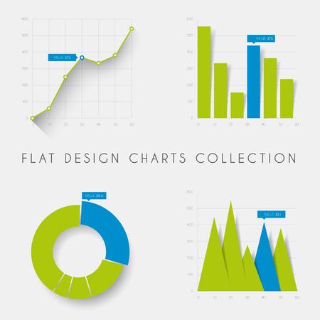 ベクトル平らな設計インフォ グラフィック統計チャートおよびグラフのセット-青と緑のバージョン