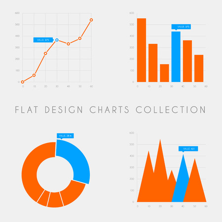 Set of vector flat design infographics statistics charts and graphs - blue and red version Illustration