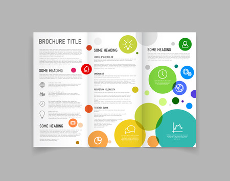 Modern Vector three fold brochure  leaflet  flyer design template with circles Çizim