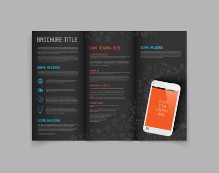 Modern Vector three fold brochure  leaflet  flyer design template with smartphone - dark version Vector