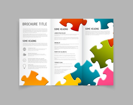 Modern Vector three fold brochure  leaflet  flyer design template with puzzle pieces Çizim