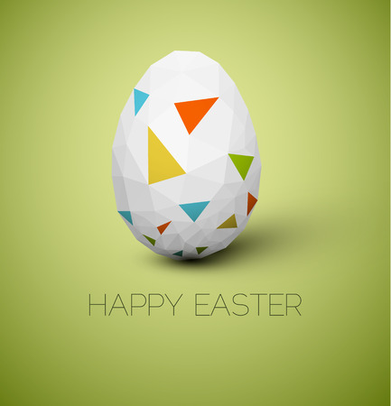 nature one painted: Simple vector Happy Easter card with polygonal egg