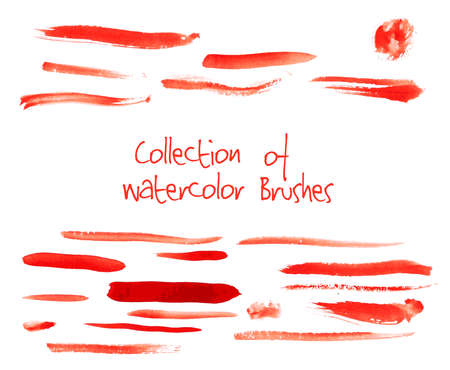 Vector collection of isolated red watercolor brushes on white background Illustration
