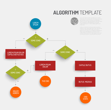 process chart: Abstract algorithm template with flat design