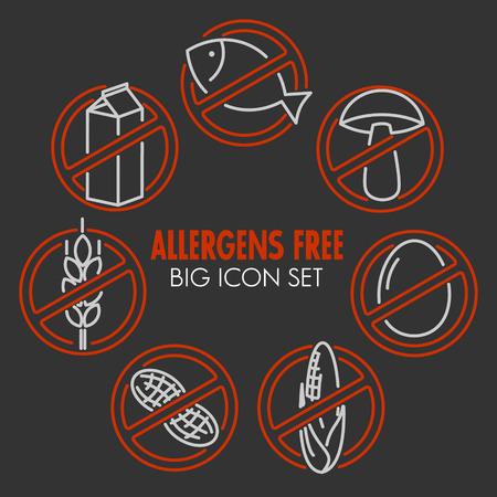 alergenos: iconos conjunto de alergenos productos libres Vectores