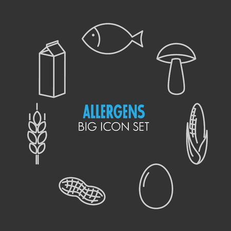 alergenos: iconos conjunto de alergenos