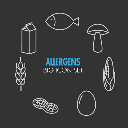 allergens: icons set for allergens
