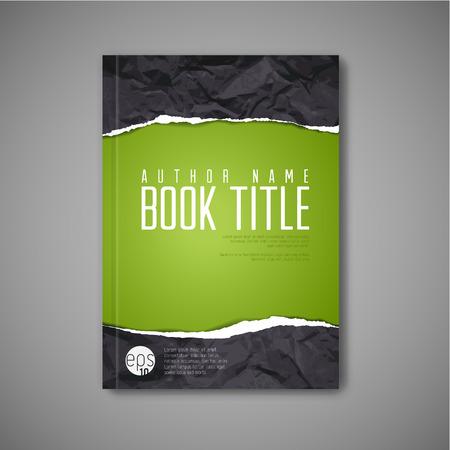 lagrimas: Plantilla de la portada del libro abstracto moderno con papel rasgado