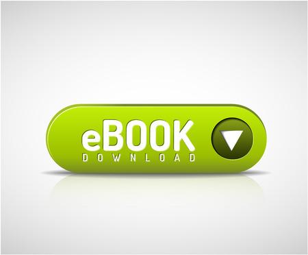 3d 녹색 전자 책 다운로드 버튼 일러스트