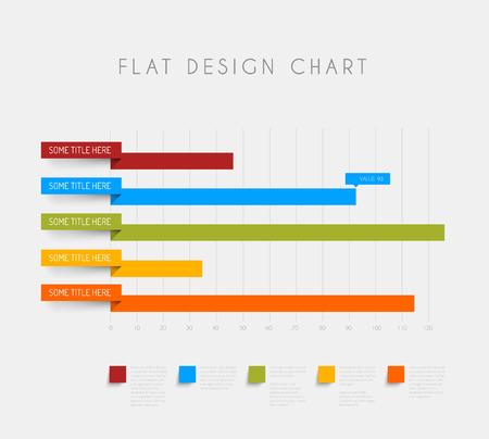 flat design statistics column horizontal graphs Illustration