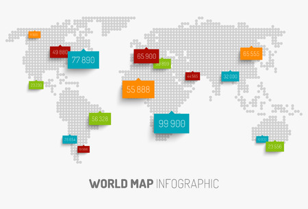 Light World map with pointer marks  Vector