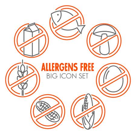 alergenos: Iconos fijados para alergenos productos libres (leche, pescado, huevo, gluten, trigo, nueces, lactosa, ma�z, setas)