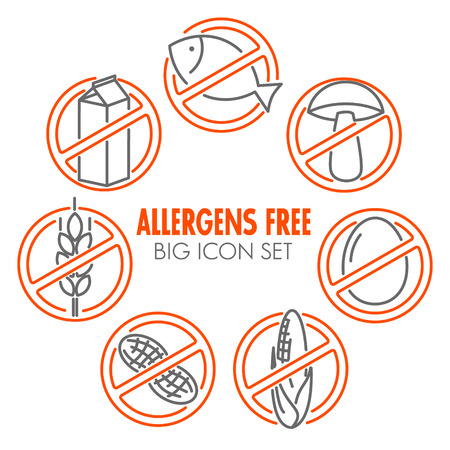 Vector icons set for allergens free products (milk, fish, egg, gluten, wheat, nut, lactose, corn, mushroom) Vetores