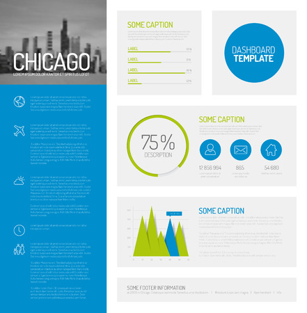 Simple infographic dashboard template with flat design graphs and charts - green and blue version Illustration