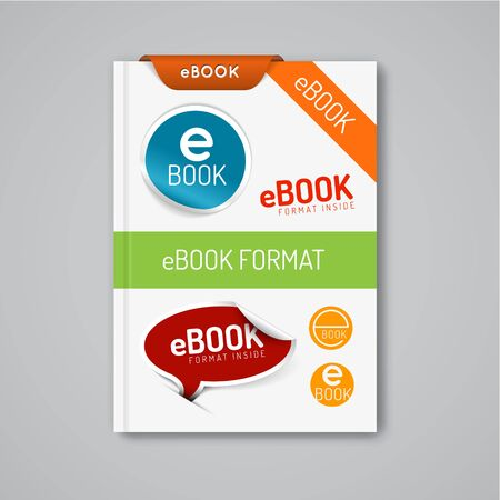 ebook reader: Vector ebook markers - stickers, stamps, corners, labels, ribbons