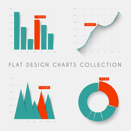 financial report: Set of vector flat design infographics statistics charts and graphs - teal and red version