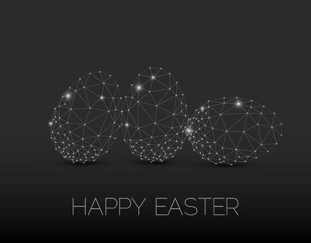 Simple vector Happy Easter card with polygonal egg - dark version Illustration