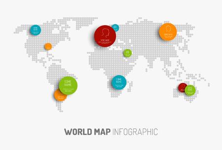 world location: Light World map with pointer marks -  communication concept Illustration