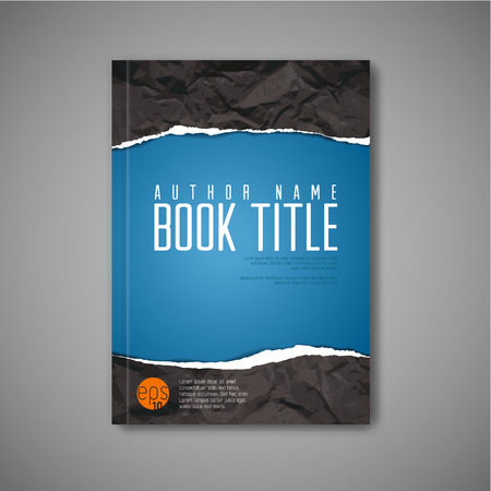 Modern Vector abstract blue book cover template with teared paper