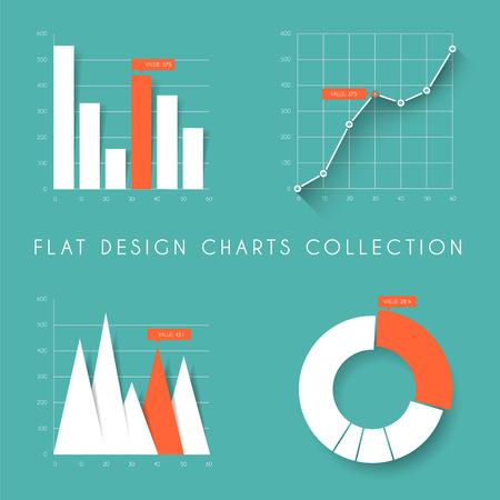 Conjunto de vector de diseño plano cartas infografías estadísticas y gráficos - verde azulado y versión roja Foto de archivo - 36475363