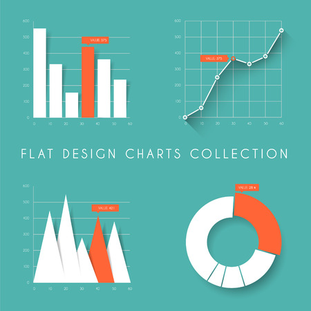 visual information: Set of vector flat design infographics statistics charts and graphs - teal and red version
