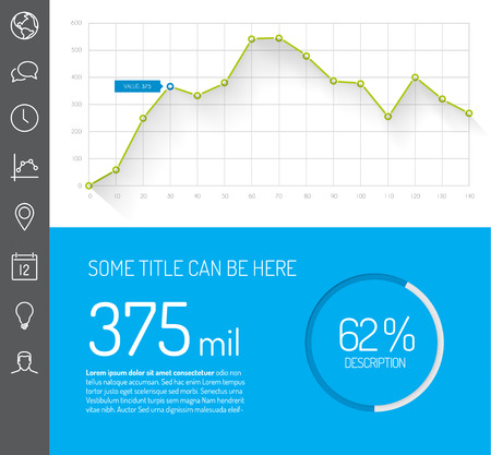 Simple infographic dashboard template with flat design graphs and charts - green and blue version Ilustrace