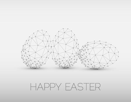egg yolk: Simple vector Happy Easter card with polygonal egg