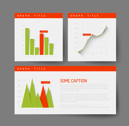 dashboard: Simple infographic dashboard template with flat design graphs and charts - green and red version Illustration