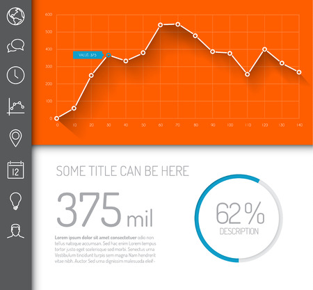 dashboard: Simple infographic dashboard template with flat design graphs and charts - orange and blue version