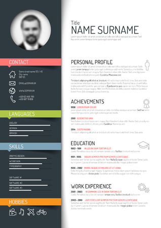 curriculum: Vector minimalist cv  resume template - dark color version