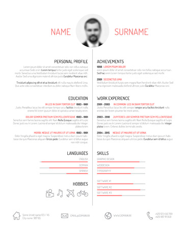 job descriptions: Vector minimalist cv  resume template - minimalistic black and white version