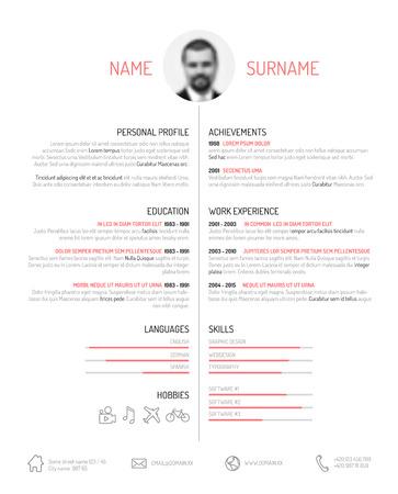 curriculum vitae: Vector minimalist cv  resume template - minimalistic black and white version