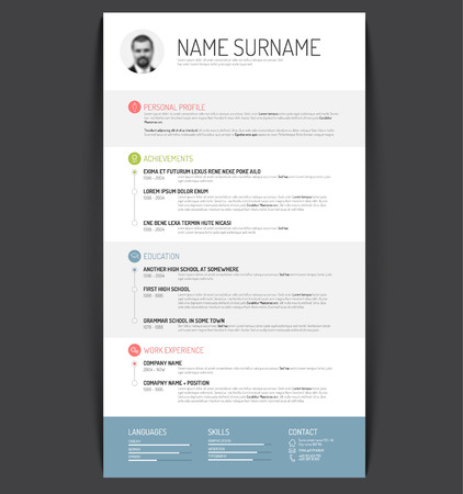 layout template: Vector minimalist cv  resume template